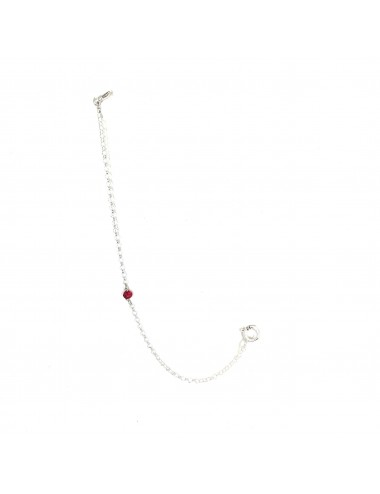CHARM THIN CHAIN IN STERLING SILVER RED CIRCONITA