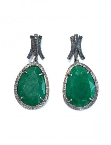 Boho Earrings in Dark Sterling Silver with Green Jade