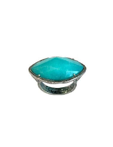 Caramelo Drop Ring in Dark Sterling Silver with Turquoise Jade Marquise