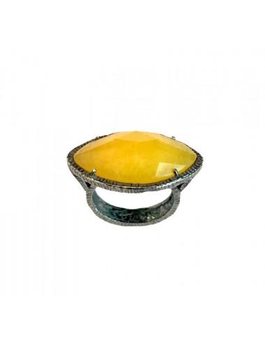 Sortija Plata Oxidada Gota Con Jade Marquise Amarillo Caramelo