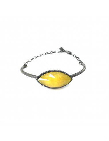 Caramelo Drop Bracelet in Dark Sterling Silver with Yellow Jade Marquise