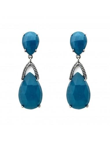Boho Drop Earrings in Dark Sterling Silver with 2 Blue Jade