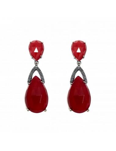 Boho Drop Earrings in Dark Sterling Silver with 2 Red Jade