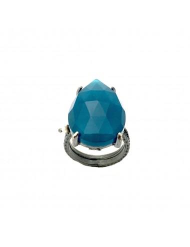 Sortija Plata Oxidada Gota Grande Garra Con Jade Azul Caramelo
