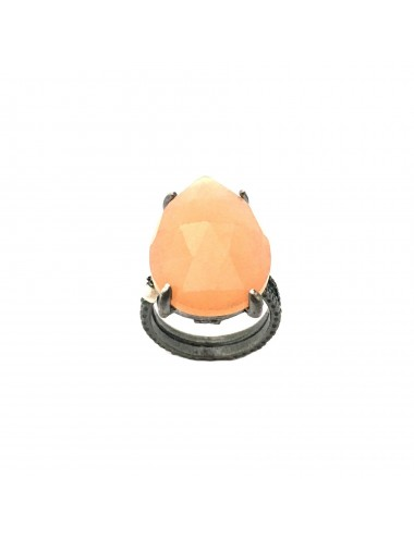 Caramelo Large Drop Ring in Dark Sterling Silver with Orange Jade Marquise