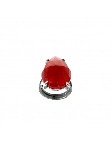 Caramelo Large Drop Ring in Dark Sterling Silver with Red Jade Marquise