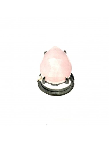 Caramelo Large Drop Ring in Dark Sterling Silver with Pink Jade Marquise