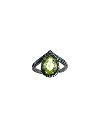 Sortija 1001 Nebet Diadema Gota Circonita Verde Plata Oxidada