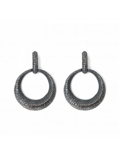 Nile Circle Earrings in Dark Sterling Silver