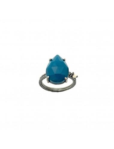 Sortija Plata Oxidada Gota Pequeña Garra Con Jade Azul Caramelo
