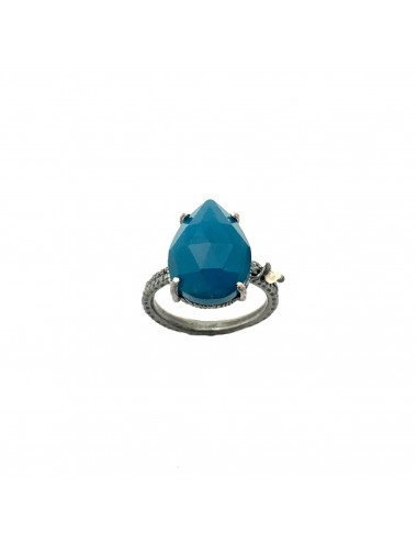 Caramelo small Drop Ring in Dark Sterling Silver with Blue Jade Marquise