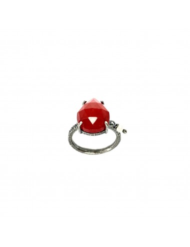 Caramelo small Drop Ring in Dark Sterling Silver with Red Jade Marquise