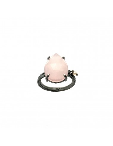 Caramelo small Drop Ring in Dark Sterling Silver with Pink Jade Marquise