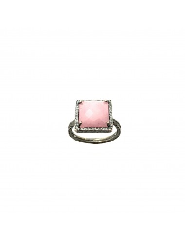 Petit Caramelo Square Ring in Dark Sterling Silver with Pink jade