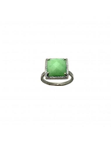 Sortija Plata Oxidada Cuadrada Jade Verde Petit Caramelo