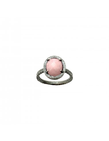 Petit Caramelo Oval Ring in Dark Sterling Silver with Pink jade