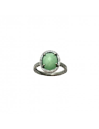 Petit Caramelo Oval Ring in Dark Sterling Silver with Green jade