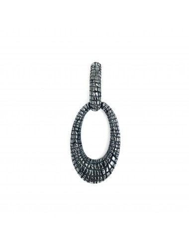 Nile Oval Pendant in Dark Sterling Silver