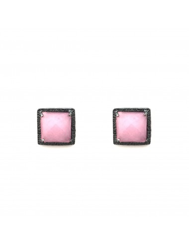 Petit Caramelo Square Earrings in Dark Sterling Silver with Pink jade