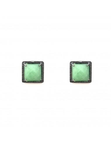 Petit Caramelo Square Earrings in Dark Sterling Silver with Green jade
