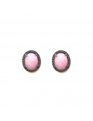 Petit Caramelo Oval Earrings in Dark Sterling Silver with Pink jade