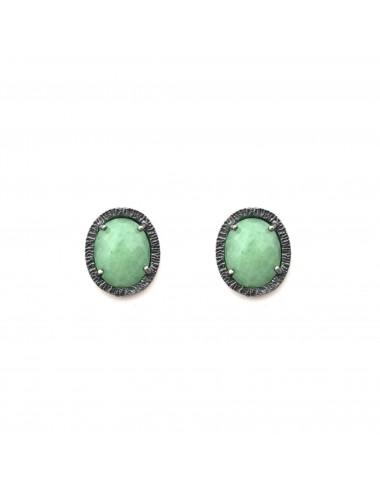 Pendientes Plata Oxidada Ovalados Jade Verde Petit Caramelo