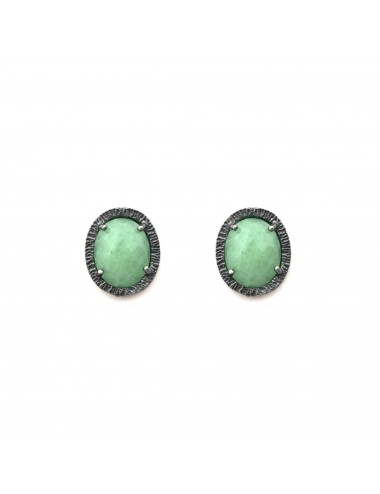Petit Caramelo Oval Earrings in Dark Sterling Silver with Green jade