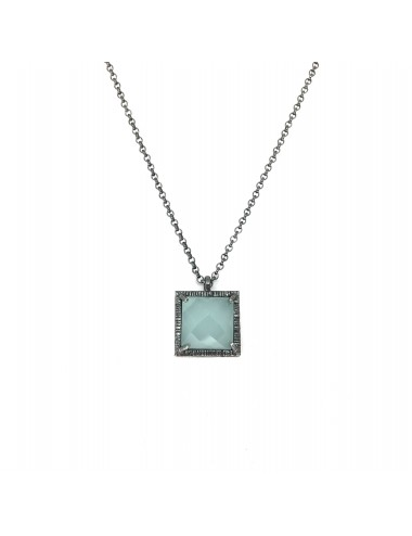 Petit Caramelo Square Pendant in Dark Sterling Silver with Aquamarine jade