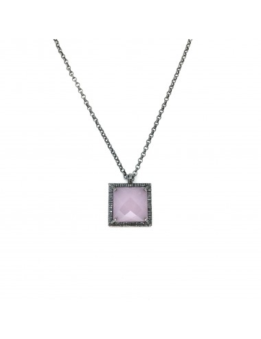 Petit Caramelo Square Pendant in Dark Sterling Silver with Pink jade