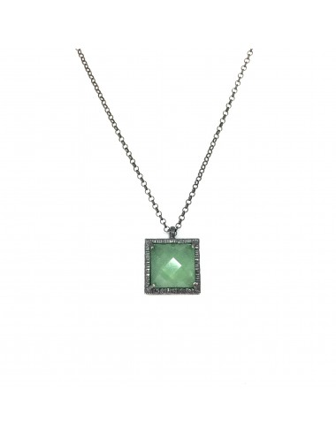 Petit Caramelo Square Pendant in Dark Sterling Silver with Green jade