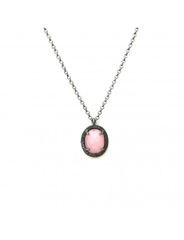 Petit Caramelo Oval Pendant in Dark Sterling Silver with Pink jade