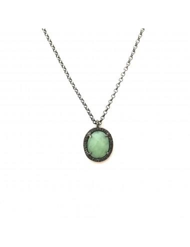Golgante Plata Oxidada Ovalado Jade Verde Petit Caramelo