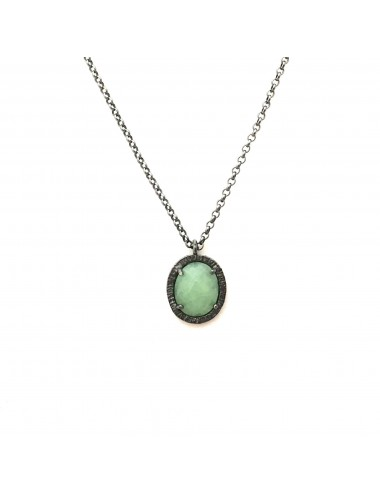 Petit Caramelo Oval Pendant in Dark Sterling Silver with Green jade