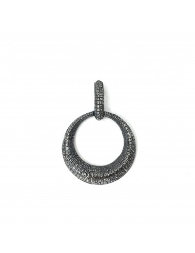 Nile Circle Pendant in Dark Sterling Silver