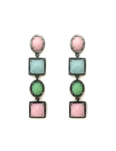 Petit Caramelo Earrings in Dark Sterling Silver with 4 Multicolor jade