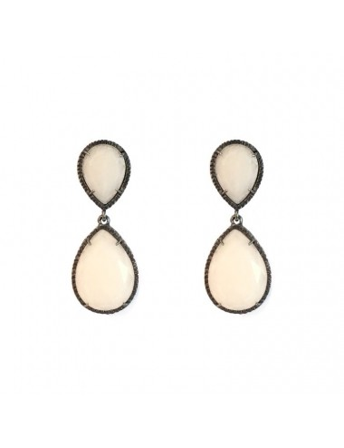 Petit Caramelo Drop Earrings in Dark Sterling Silver with White jade