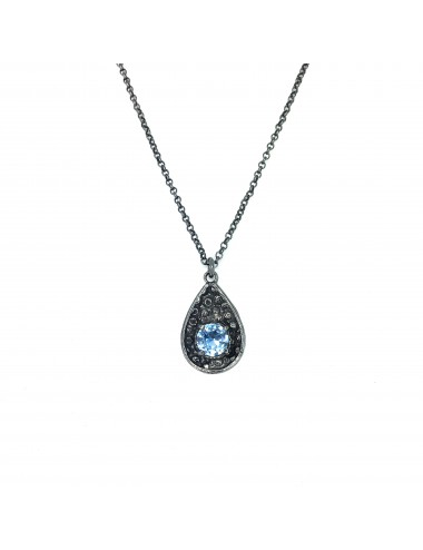 Organic Drop Pendant in Dark Sterling Silver with Blue Circonita