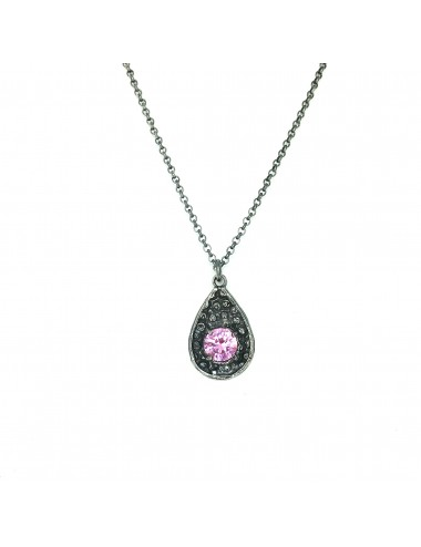 Organic Drop Pendant in Dark Sterling Silver with Pink Circonita