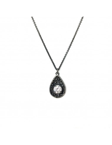 Organic Drop Pendant in Dark Sterling Silver with White Circonita