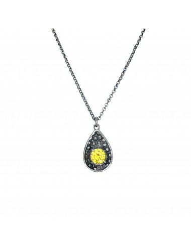 Organic Drop Pendant in Dark Sterling Silver with Yellow Circonita