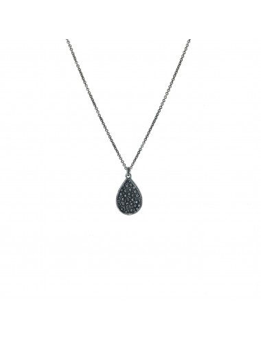 Organic Drop Pendant in Dark Sterling Silver