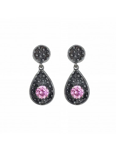 Organic small Drop Earrings in Dark Sterling Silver with Pink Circonita