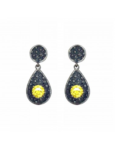 Organic small Drop Earrings in Dark Sterling Silver with Yellow Circonita