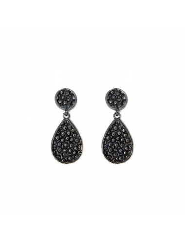 Organic Drop Earrings in Dark Sterling Silver
