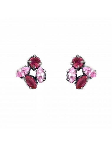 Kaleidoscope Pink Small Button Earrings in Dark Sterling Silver