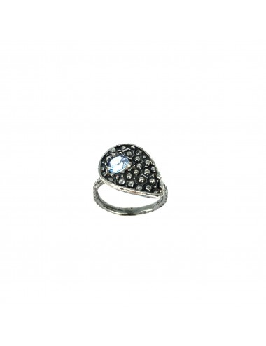 Organic small Drop Ring in Dark Sterling Silver with Blue Circonita