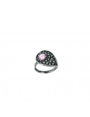 Organic small Drop Ring in Dark Sterling Silver with Pink Circonita