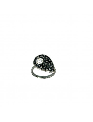 Organic small Drop Ring in Dark Sterling Silver with White Circonita