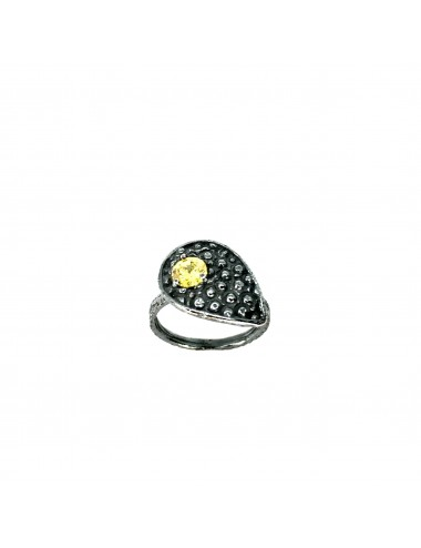 Organic small Drop Ring in Dark Sterling Silver with Yellow Circonita