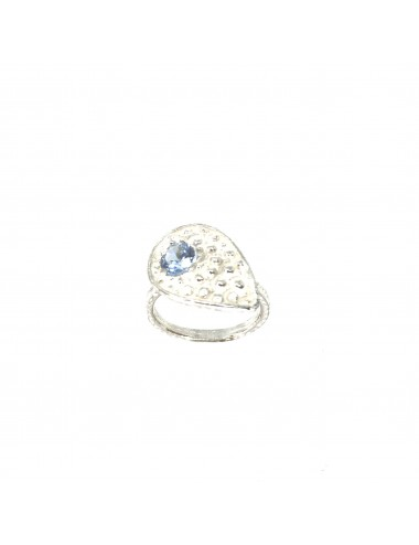 Organic small Drop Ring in Sterling Silver with Blue Circonita